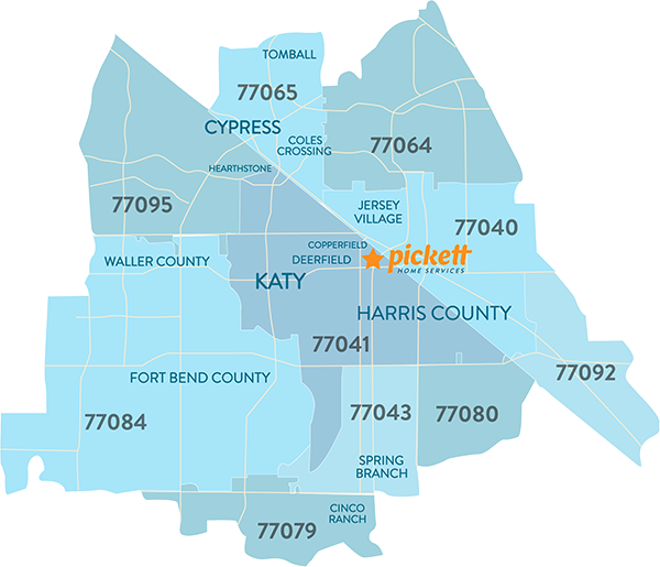Pickett Home Services Area Map